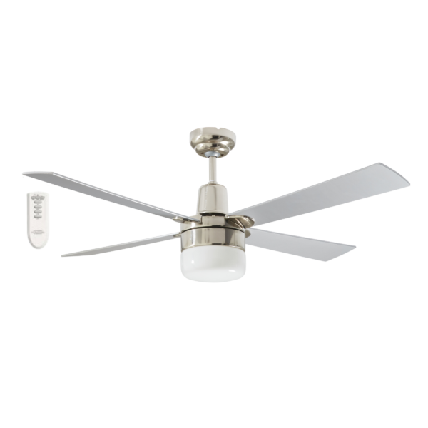 Martec Four Seasons Alpha Silver Ceiling Fan with Clipper Light and Remote -