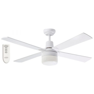 Martec Four Seasons Alpha White Ceiling Fan with Clipper Light and Remote