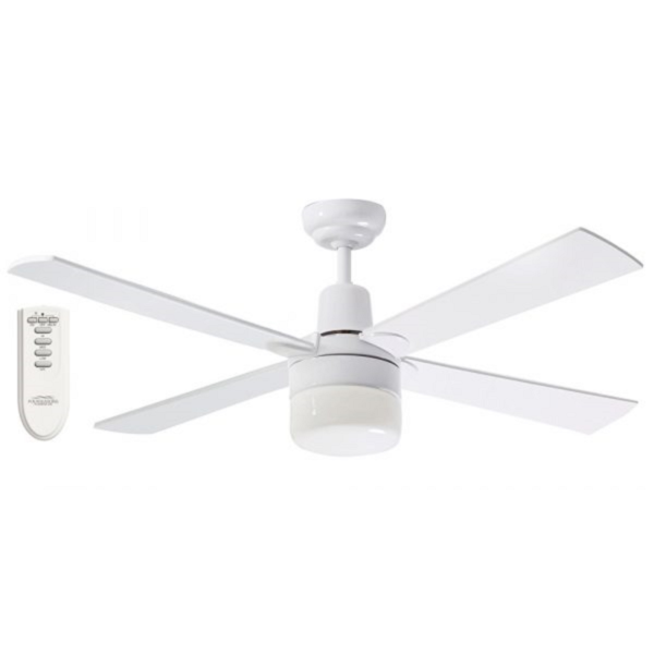 Martec Four Seasons Alpha White Ceiling Fan with Clipper Light and Remote -