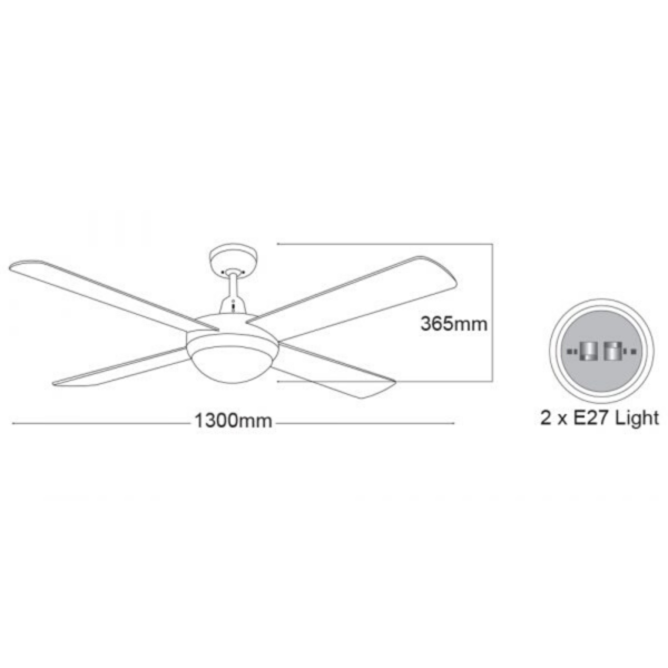 Martec Lifestyle White Ceiling Fan with Twin E27 Light -