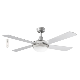 Martec Four Seasons Primo Silver Ceiling Fan with Twin E27 Light and Remote