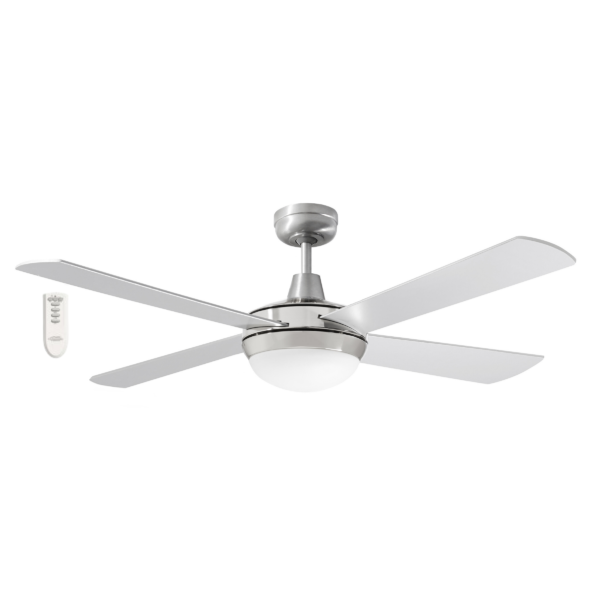 Martec Four Seasons Primo Silver Ceiling Fan with Twin E27 Light and Remote -