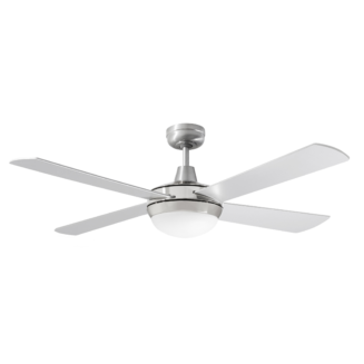 Martec Four Seasons Primo Silver Ceiling Fan with Twin E27 Light