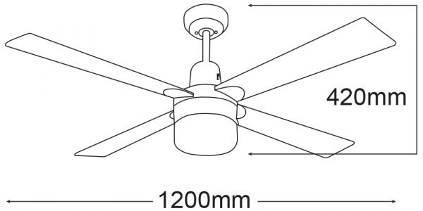 Ceiling Fan in White Finish with Light 1xE27 -