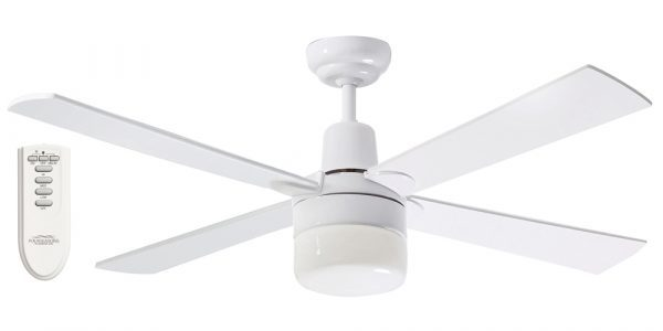 Ceiling Fan White Finish with Light & Remote -
