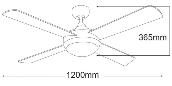 FourSeasons Primo 48″ Ceiling Fan With E27 Light-diagram