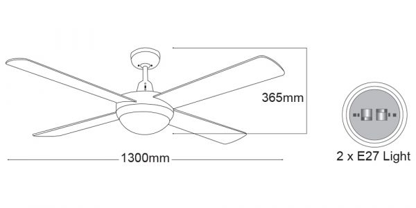 Ceiling Fan in White with Light 2 x E27 -