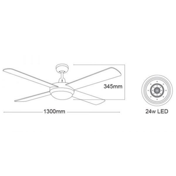 "Martec Lifestyle ""AC"" White Ceiling Fan with 24W LED Tri-Colour Light -"