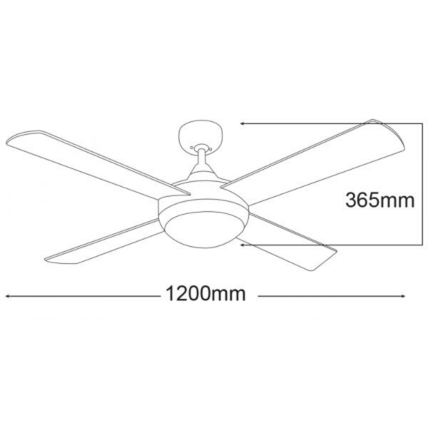 Martec Four Seasons Primo White Ceiling Fan with Twin E27 Light and Remote -