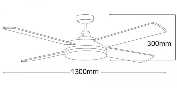 Razor 52″ Ceiling Fan with 28W LED Light-diagram