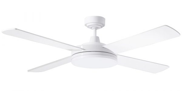 Ceiling Fan White diecast aluminium body/Ultra slim profile 28w Dimmable LED Light -