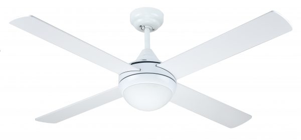 Ceiling Fan White Finish with Light Twin ES Lamp -