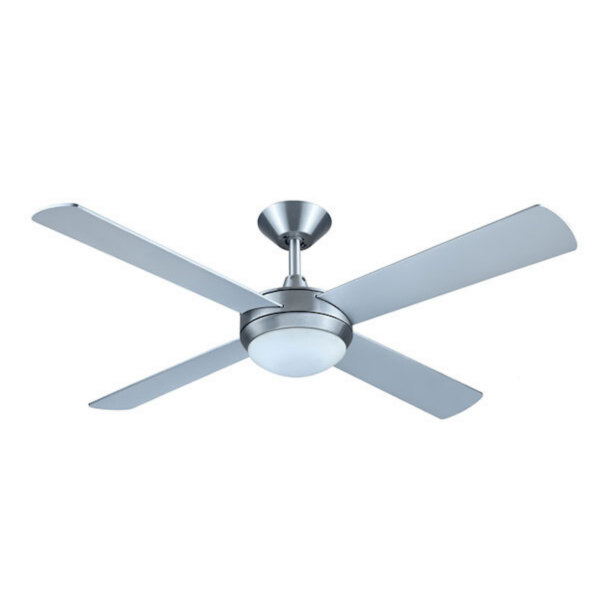 Hunter Pacific Intercept II Brushed Aluminium Ceiling Fan with 24W Tri Colour LED Light -