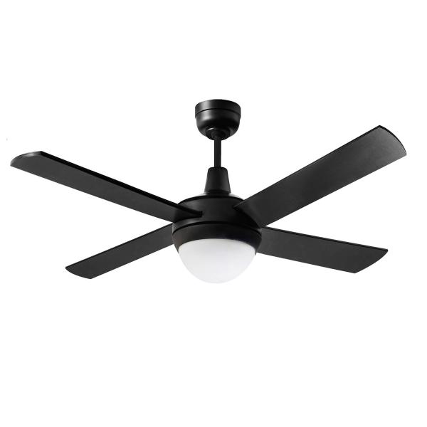 """Martec Lifestyle """"AC"""" Matt Black Ceiling Fan with 24W LED Tri-Colour Light -"""