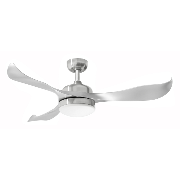 Martec Scorpion DC Range Ceiling Fan Brushed Nickel with 20w Tri Colour LED Light -