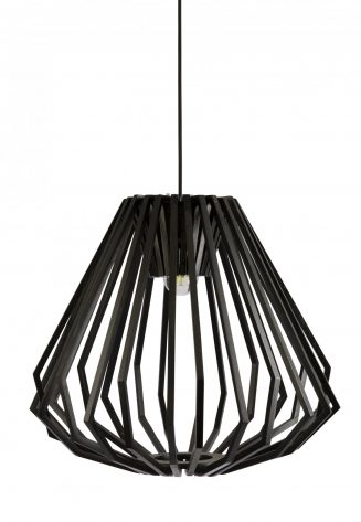 Ragusa Wood Veneer Large Black Pendant Light