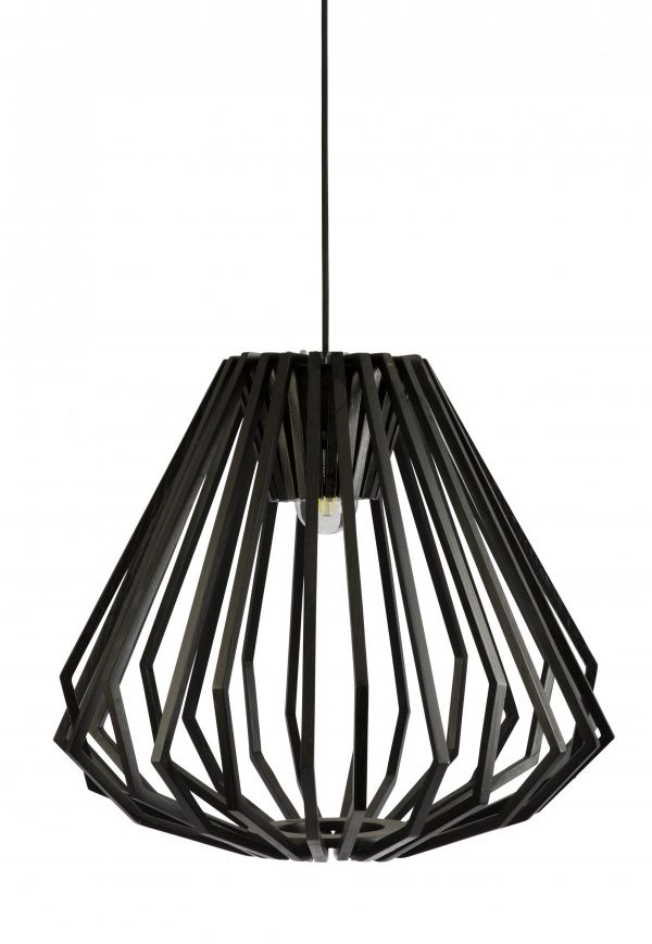 Ragusa Wood Veneer Large Black Pendant Light -