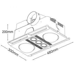 Martec Profile Plus 3-in-1 Bathroom Heater, Fan and Light -