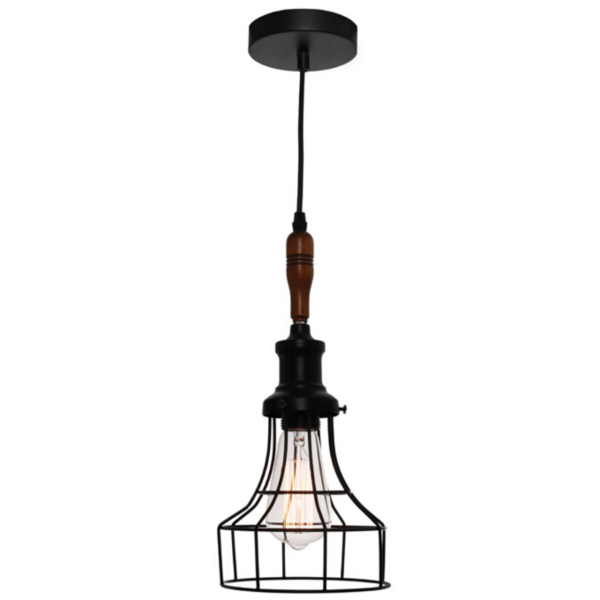 Reed 1 Light Black Cage Pendant -