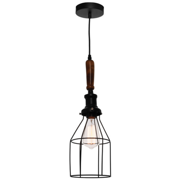Spindle 1 Light Black Cage Pendant -