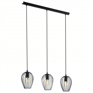 Newtown 3 Light Black Cage Bar Pendant