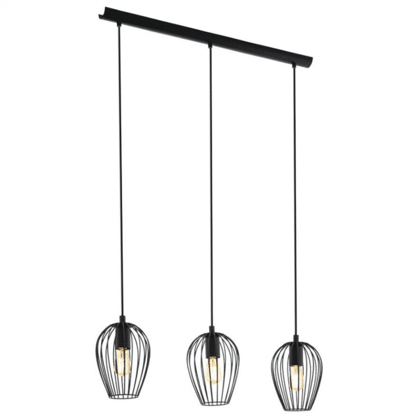 Newtown 3 Light Black Cage Bar Pendant -