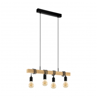 Townshend 4 Light Timber Industrial Pendant