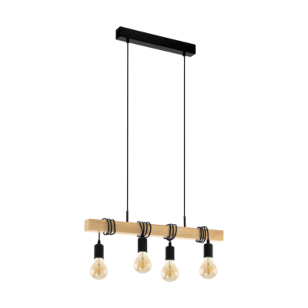 Townshend 4 Light Timber Industrial Pendant -