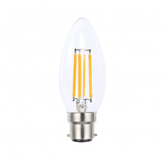 LED 4W B22 Candle Clear Dimmable Warm White Globe