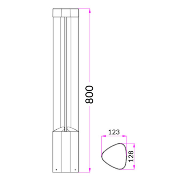 Exterior LED Surface Mounted Bollard Light - Triangular -