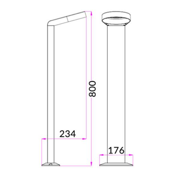 Exterior LED Surface Mounted Bollard Light - Hoop -