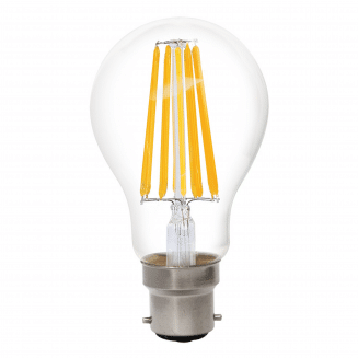 GLS 8W BC Clear Non Dimmable LED Filament Globe Warm White