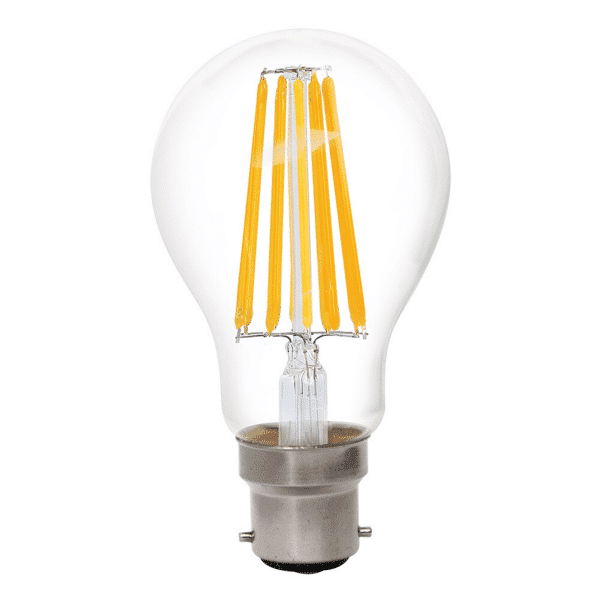 GLS 8W BC Clear Dimmable LED Filament Globe Warm White -