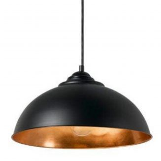 Newport Black and Copper Industrial Style Dome Pendant Light