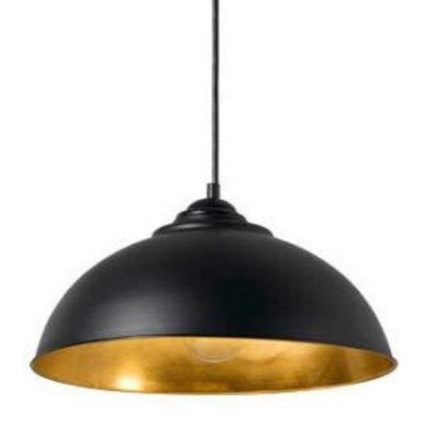 Newport Black-Gold Dome Pendant Light -