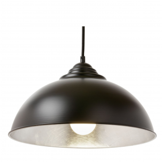 Newport Black and Silver Industrial Style Dome Pendant Light