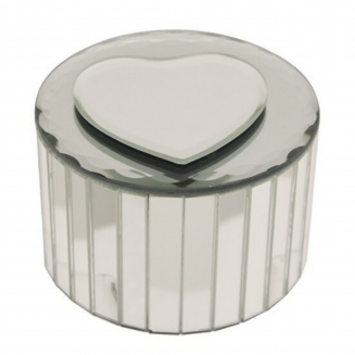 Round Heart Mirrored Jewellery Box
