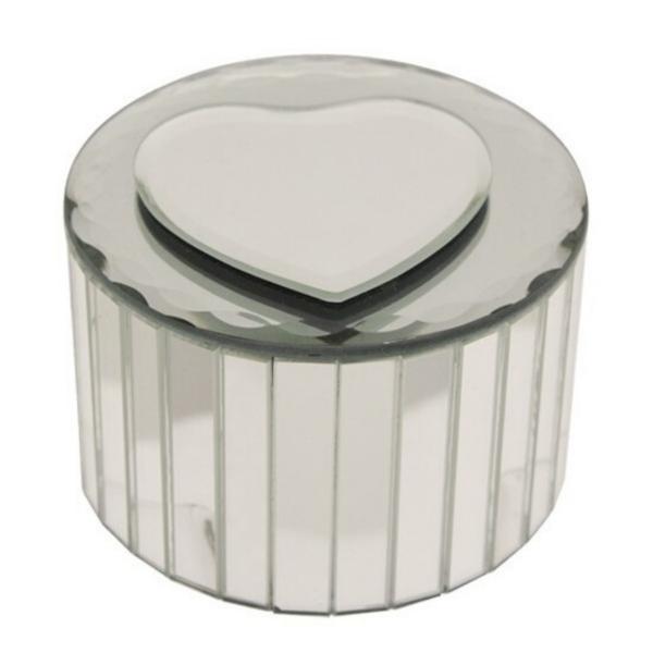 Round Heart Mirrored Jewellery Box -