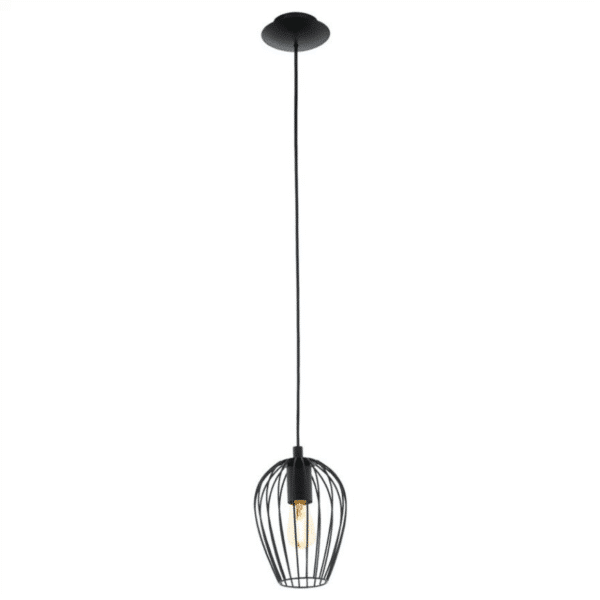 Newtown Single Black Cage Pendant Light -