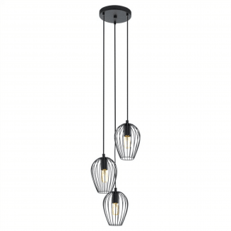 Newtown 3 Light Black Cage Cluster Pendant