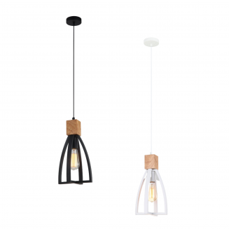 Faro Iron and Wood Pendant Light