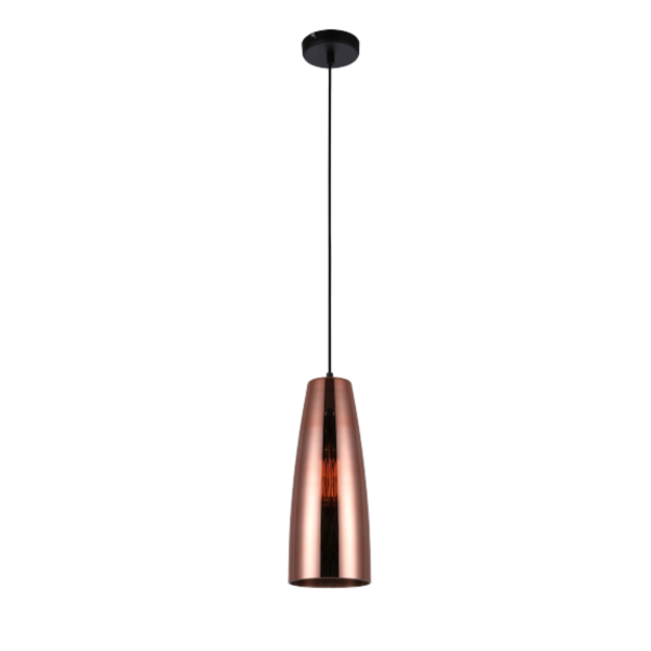 Lamina Copper Glass Ellipse Pendant Light -