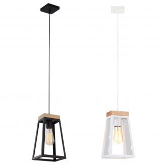 Lanterna Trapezium Iron and Wood Pendant Light