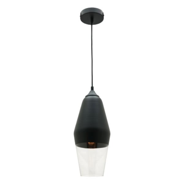Medi Matt Black and Glass Pendant Light -