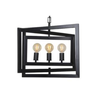 New York 3 Light Black Iron Pendant