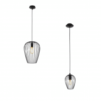 Newtown Single Black Cage Pendant Light
