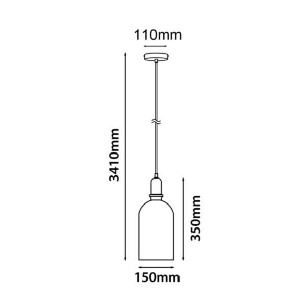 Horten Oblong Iron and Wood Pendant Light -