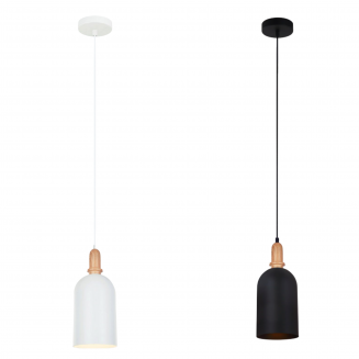 Horten Oblong Iron and Wood Pendant Light