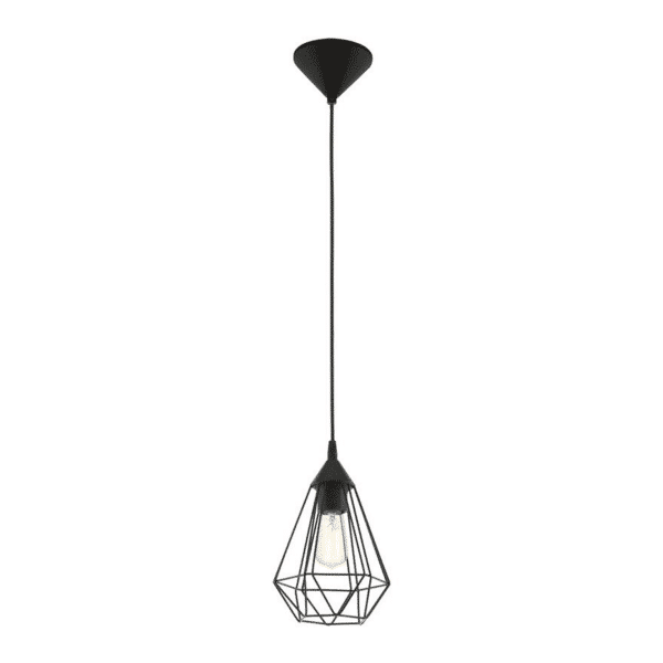 Tarbes Single Light Black Cage Pendant -