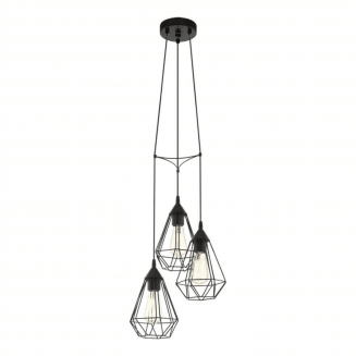 Tarbes 3 Light Black Cage Cluster Pendant